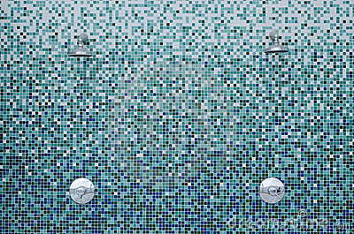 Showers on mosaic tiles