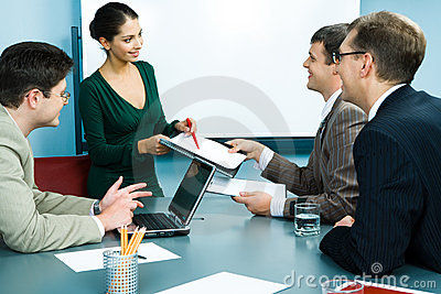 Showing business papers