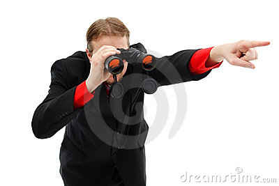 Showing direction with binoculars