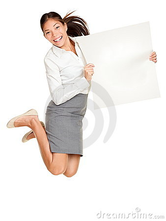 Showing sign woman jumping