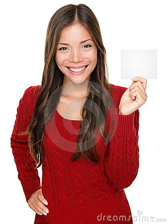 Showing woman presenting gift card