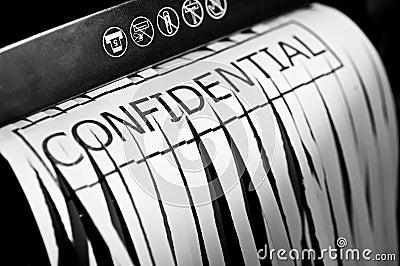 Shredded confidential document