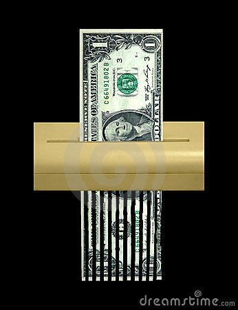 The Shredded Dollar, Economy and Debt Concept