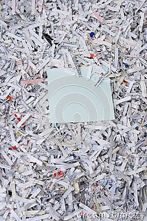 Shredded paper & sticky note