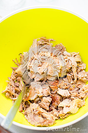 Shredded pork meat
