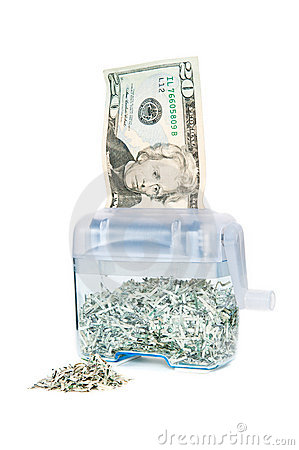 Free Shredding Your Money - $20 With Pile Royalty Free Stock Image - 23120176
