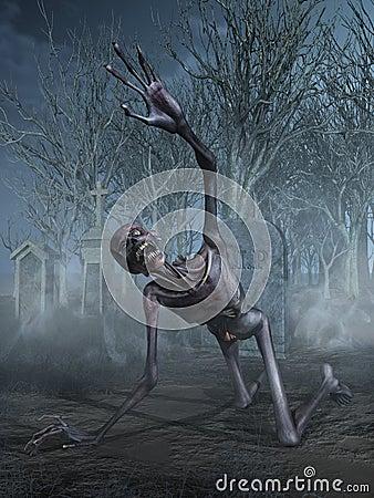 Shrieking Zombie in a Graveyard