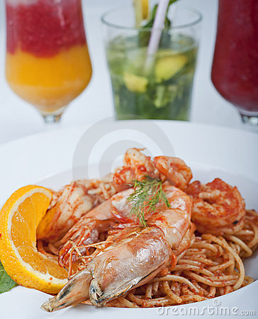 Free Shrimp And Pasta Meal Royalty Free Stock Photo - 14628495