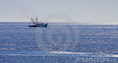 Shrimp Boat on Blue Seas