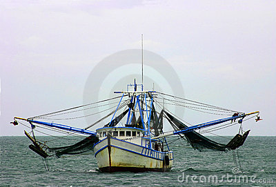 Shrimp boat with nets