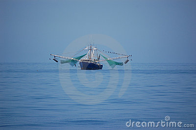 Shrimp boat at sea