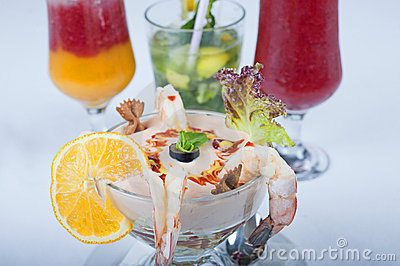 Shrimp cocktail with fruit drinks