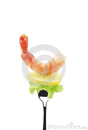 Shrimp on fork.