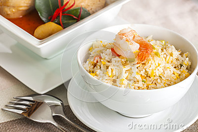Shrimp fried rice and Beef or chicken mussaman curry