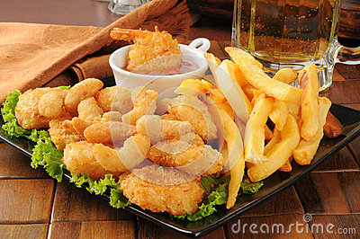 Shrimp, fries and beer