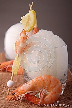 Shrimp and lemon mousse