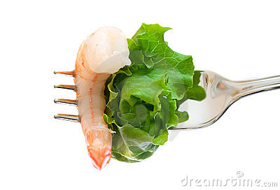 Shrimp and lettuce on fork