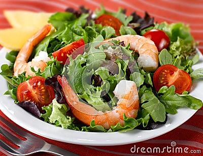 Fresh Leafy Green Salad with Jumbo Shrimp and Tomatoes.