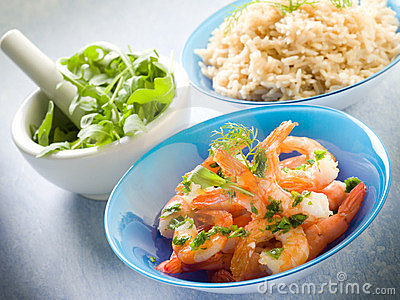 Shrimp with rice