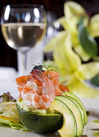 Free Shrimp Salad A La Carte Appetizer Stock Photography - 12873192