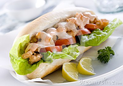 ... sandwich with tomato, lettuce, deep fried shrimp and spicy mayonnaise