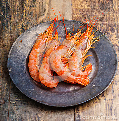 Free Shrimp Sea Food On Wooden Table Stock Photos - 49539493