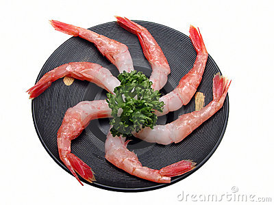 Shrimp on a wooden plate-clipping path