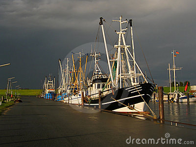 Shrimpboats in thunderstorm