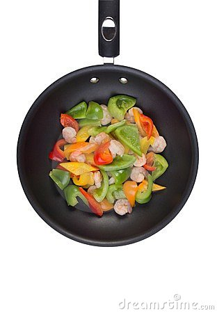 Shrimps and Bell Peppers in Wok