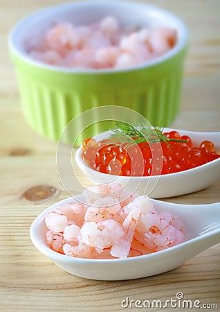 Shrimps and caviar