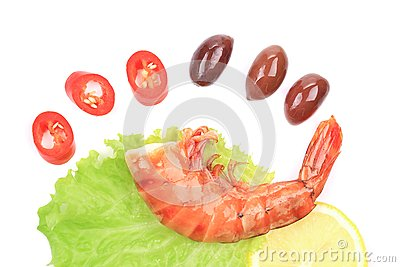 Shrimps close up on white.