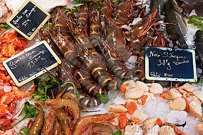 Shrimps on fish market