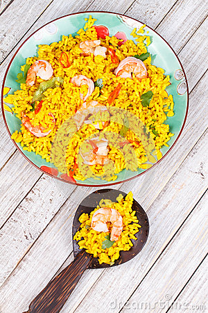 Free Shrimps Risotto Garnished With Fresh Parsley And Red Chili Pepper Stock Images - 48851064