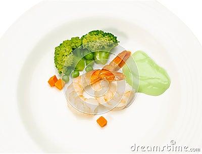 Shrimps seafood display on dish