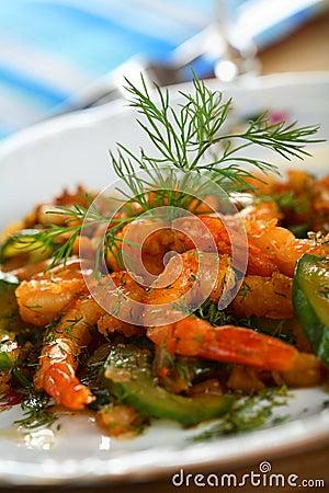 Free Shrimps With Cucumber Stock Photos - 1925233