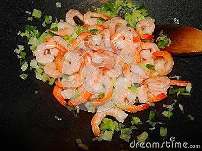 Shrimps in a wok