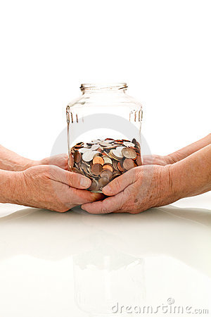 Shrinking value of retirement fund concept