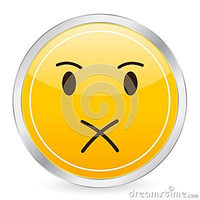Shut up face yellow circle ico