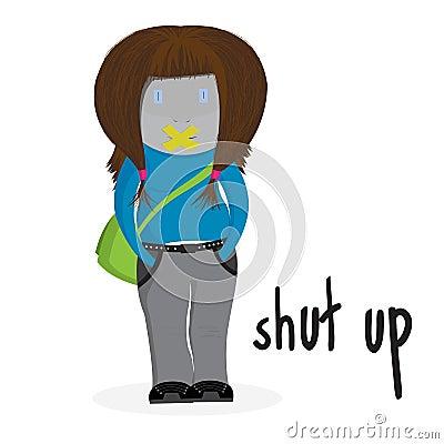 Shut up girl illustration