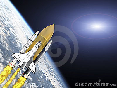 Shuttle leaving earth with galaxy flare