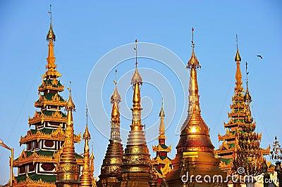 Shwedagon golden pagoda at twilight, Yangon