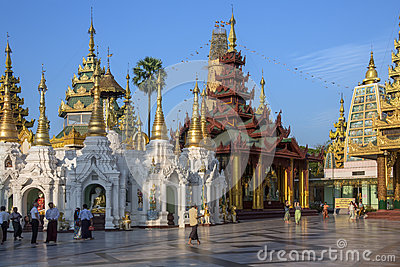 Shwedagon Pagoda Complex - Yangon - Myanmar Editorial Photo