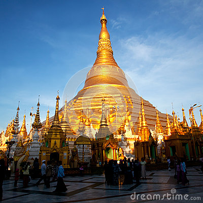 Shwedagon Pagoda in Yangon, Myanmar Editorial Stock Photo