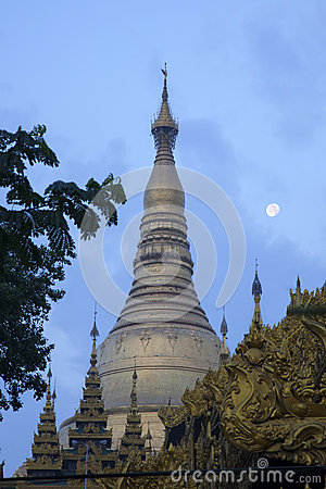 Shwedagon Paya and the Moon