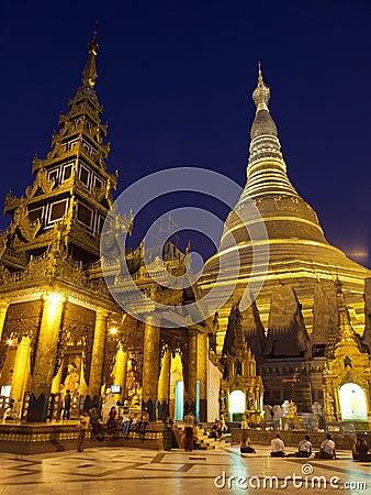 Shwedagon Paya by Night Editorial Stock Photo