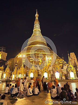 Shwedagon Paya by Night Editorial Stock Image