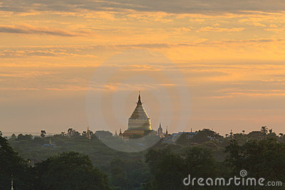 Shwezigon pagoda at sunrise,Bagan, Myanmar