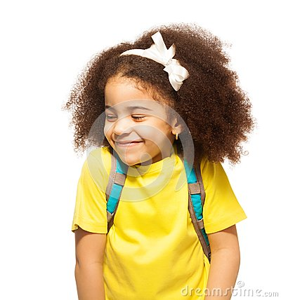 Free Shy African Girl With White Bow, Closed Eyes Stock Photo - 54412440