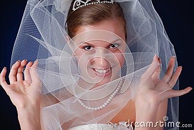 Shy beautiful bride