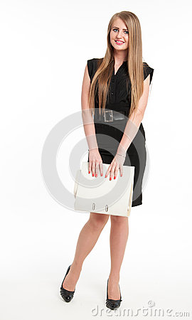 Shy businesswoman with file